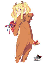 1girl animal_costume antlers blonde_hair box doll gift gift_box grand_harem looking_at_viewer looking_back open_mouth original pink_eyes pointy_ears pokachu reindeer_antlers reindeer_costume remote_control_vibrator ribbon solo tail tail_ribbon twintails vibrator