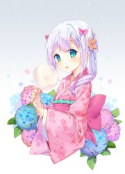 1girl alternate_costume alternate_hairstyle bangs blue_eyes blue_flower blush bow cotton_candy eromanga_sensei eyebrows_visible_through_hair eyelashes floral_print flower gradient gradient_background gradient_hair hair_bow hands_up holding hydrangea izumi_sagiri japanese_clothes kimono lavender_hair leaf lips long_hair looking_at_viewer mintchoco_(orange_shabette) multicolored_hair open_mouth pink_bow pink_flower pink_kimono sash silver_hair solo upper_body yukata