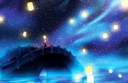 1girl absurdres arms_up bridge lantern night_sky original reflection scarf scenery solo space star_(sky) water