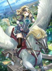 1girl arm_guards armor blonde_hair blue_dress clair_(fire_emblem) company_name dress feathers fire_emblem fire_emblem_cipher fire_emblem_echoes:_mou_hitori_no_eiyuuou helmet kawasumi_(japonica) long_hair official_art pegasus pegasus_knight polearm ponytail riding saddle short_dress shoulder_armor solo thighhighs weapon
