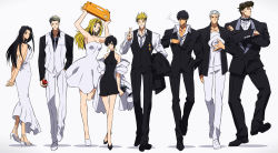 3girls 5boys apple arms_behind_back black_dress black_hair blonde_hair bow bowtie brad_(trigun) crossed_arms crossed_fingers dress earrings eyes_closed food formal fruit hand_in_pocket hat highres jewelry kon_manatsu lineup livio_the_doublefang long_hair looking_at_viewer looking_back megaphone meryl_stryfe millions_knives milly_thompson multiple_boys multiple_girls necktie nicholas_d_wolfwood pompadour rem_saverem short_hair silver_hair simple_background smile smoke smoking spiked_hair strapless strapless_dress suit trigun vash_the_stampede vest walking white_dress white_suit