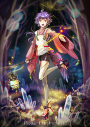 1girl bangs copyright_name crystal detached_sleeves full_body glowing grass holding japanese_clothes kuroi lantern long_hair looking_at_viewer multiple_girls one_leg_raised open_mouth original outstretched_hand pink_eyes pixiv_fantasia pixiv_fantasia_t platform_footwear purple_hair ribbon sandals solo standing standing_on_one_leg tree wide_sleeves wings