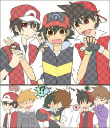 !? ... 3boys ? alternate_costume bad_id baseball_cap black_hair blush brown_hair child eyes_closed green_eyes hat hat_removed headwear_removed labcoat male_focus multiple_boys no_hat no_headwear ookido_green ookido_shigeru pokemon pokemon_(anime) pokemon_(game) pokemon_gsc pokemon_special red_(pokemon) satoshi_(pokemon) sekiei short_hair squiggle yaoi