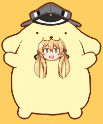 1girl anchor_hair_ornament animal_costume black_ribbon blonde_hair blush commentary_request dog_costume female full_body green_eyes hair_ornament hat highres kamelie kantai_collection long_hair looking_at_viewer low_twintails military_hat open_mouth orange_background peaked_cap pompompurin prinz_eugen_(kantai_collection) ribbon sanrio simple_background smile solo twintails