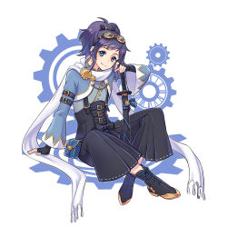 1boy adapted_costume black_gloves black_hair blue_eyes boots cross-laced_footwear fingerless_gloves gears gloves goggles goggles_on_head katana lace-up_boots male_focus mole mole_under_eye nightcat ponytail scarf sitting smile solo steampunk sword touken_ranbu weapon yamato-no-kami_yasusada