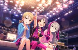 3girls :o blonde_hair blush braid brown_eyes drill_hair eyelashes eyepatch fang grey_eyes hayasaka_mirei hoodie hoshi_shouko hoshii_shouko idolmaster idolmaster_cinderella_girls idolmaster_cinderella_girls_starlight_stage jacket light_smile long_hair morikubo_nono multicolored_hair multiple_girls official_art open_mouth pointing purple_hair short_hair silver_hair single_braid sitting smile towel violet_eyes