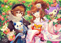 1boy 1girl 2016 :d aipom alternate_costume animal black_hat blue_eyes blush_stickers breath brown_hair camellia_(flower) character_doll copyright_name darumaka ema fang flabebe floral_print flower freckles fur_collar grin hair_between_eyes hair_flower hair_ornament hairclip haori hat holding_animal japanese_clothes kimono kinchaku lace long_hair looking_at_viewer looking_to_the_side n_(pokemon) new_year no_hat obi one_eye_closed open_mouth oshawott pokemon pokemon_(game) pokemon_bw pom_pom_(clothes) ponytail red_flower sash scarf shawl sleeves_past_wrists smile snivy tepig touko_(pokemon) touya_(pokemon) upper_body welchino wide_sleeves