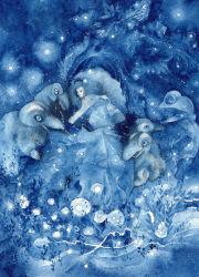 1girl blue blue_dress chidoridama dress eyes_closed fantasy hairband highres long_hair monster original sleeping traditional_media watercolor_(medium)