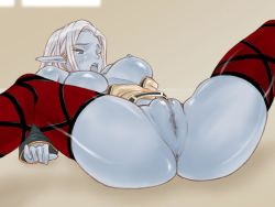 blue_skin censored dark_elf elf fat_mons lineage lineage_2 pointy_ears pussy spread_legs tagme thighhighs