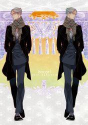 2boys dual_persona fuhmin highres jacket jojo_no_kimyou_na_bouken multiple_boys owl patterned_scarf pinstripe_pattern prosciutto scarf socks symmetry