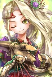 1girl bonnou-s-rice female flower goddess green_eyes hair_ornament kid_icarus kid_icarus_uprising long_hair nachure_(kid_icarus) nintendo smile solo staff tagme viridi wink