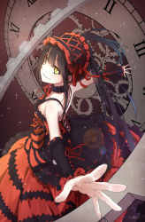 1girl black_hair breasts byakuya_reki clock clock_eyes date_a_live gears hairband heterochromia lolita_fashion lolita_hairband long_hair outstretched_arms red_eyes revision smile solo tokisaki_kurumi twintails yellow_eyes