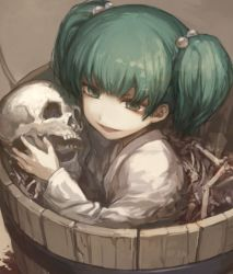 1girl bone bucket evil_smile green_eyes green_hair hair_bobbles hair_ornament in_bucket in_container japanese_clothes kikugetsu kimono kisume long_sleeves looking_at_viewer short_hair skull smile solo touhou twintails upper_body wide_sleeves yukata
