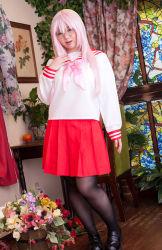 1girl asian cosplay glasses looking_at_viewer lucky_star mana pantyhose photo plump schoolgirl solo takara_miyuki