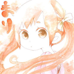 1girl brown_eyes female hair_bow japanese looking_at_viewer orange orange_hair original partially_colored shirohiko solo twintails upper_body white_background