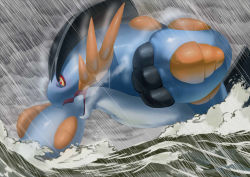cloud cloudy_sky commentary_request mega_pokemon mega_swampert no_humans open_mouth pokemon pokemon_(game) pokemon_oras rain red_eyes sky solo swampert tagme toranoe water
