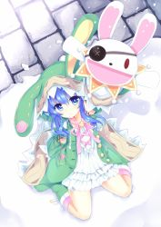 1girl animal_hood blue_eyes blue_hair boots bunny_hood date_a_live dress east01_06 frilled_dress frills from_above highres looking_at_viewer sitting smile snowing solo stuffed_animal stuffed_bunny stuffed_toy white_dress yoshino_(date_a_live) yoshinon