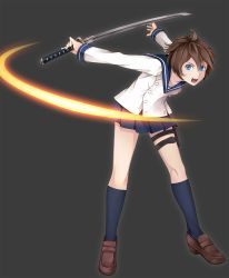 1girl blue_eyes brown_hair ga-rei ga-rei_zero highres katana school_uniform serafuku short_hair skirt solo sword tsuchimiya_kagura weapon