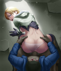 1girl all_fours ass back backboob blonde_hair blue_eyes blush boots breasts censored clothed_sex doggystyle gloves hands_on_hips highres large_breasts legs looking_back mosaic_censoring no_bra open_mouth panties panties_aside penis rape resident_evil resident_evil_6 sex sherry_birkin short_hair spread_legs tears thighs thor_(deep_rising) torn_clothes underwear vaginal white_panties zombie