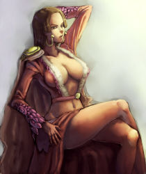 1girl boa_hancock breasts brown_eyes brown_hair cleavage female kyoffie12 large_breasts long_hair midriff navel one_piece parted_lips sitting solo