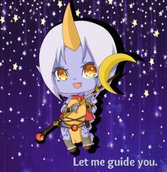 1girl hooves horn league_of_legends long_hair pointy_ears purple_skin soraka staff tattoo yellow_eyes