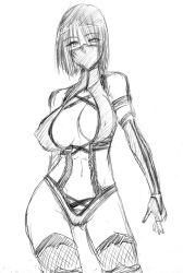 1girl akenami_yasutaka breasts large_breasts mileena monochrome mortal_kombat sketch solo