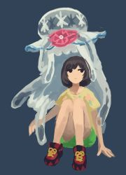 1girl beanie black_eyes black_hair blue_background female_protagonist_(pokemon_sm) floral_print green_shorts hat hat_removed headwear_removed jellyfish looking_away looking_to_the_side nihilego pleo pokemon pokemon_(game) pokemon_sm red_hat shirt shoes short_hair short_sleeves shorts simple_background sitting sneakers solo ultra_beast yellow_shirt