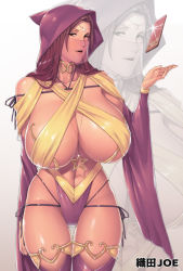 1girl bare_shoulders breasts brown_hair card cowboy_shot curvy detached_sleeves fantasy female gigantic_breasts highres hood long_hair looking_at_viewer magic milf navel necklace oda_joe open_mouth original playing_card solo standing star thigh_gap veil zoom_layer