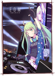1girl 2016 ;) aqua_eyes aqua_hair arm_up bangs belly_peek black_gloves blue_ribbon border breasts closed_mouth copyright_name dated dj english eyebrows_visible_through_hair gloves green_hair hair_ribbon hatsune_miku headphones headphones_around_neck highres light long_hair looking_at_viewer monitor navel night night_sky one_eye_closed outdoors partly_fingerless_gloves phonograph polka_dot record ribbon short_sleeves signature sky small_breasts smile solo speaker stage_lights stomach turntable twintails upper_body very_long_hair vocaloid zhayin-san