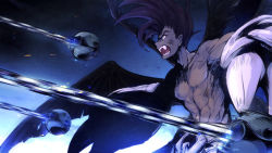 1boy bare_chest black_hair dark_skin fangs fighting houshin_engi male_focus open_mouth pointy_ears raishinshi shirtless solo teeth utsugi_(skydream) wings