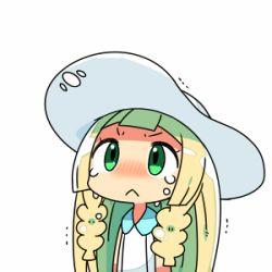 1girl :< blonde_hair blush chibi crying crying_with_eyes_open green_eyes hat kanikama lillie_(pokemon) lowres pokemon pokemon_(game) pokemon_sm simple_background solo sun_hat tears trembling u