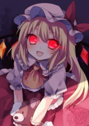 1girl artist_name ascot blonde_hair bow dated fang flandre_scarlet glowing glowing_eyes hat mikazuki_sara open_mouth red_eyes short_hair side_ponytail signature smile solo teddy touhou wings