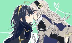 2girls armor blue_eyes blue_hair blush breasts fire_emblem fire_emblem:_kakusei fire_emblem_if kamui_(fire_emblem_if) kiss long_hair lucina multiple_girls nintendo red_eyes white_hair yuri