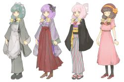 1girl alternate_costume apron aqua_hair boots brown_hair character_sheet contemporary dress dress_shirt female fire_emblem fire_emblem_if flower full_body hair_tubes hanten_(clothes) hat hat_flower japanese_clothes kimono kimono_skirt meiji_schoolgirl_uniform mitama_(fire_emblem_if) multiple_views pink_hair purple_hair sandals shirt shourou_kanna simple_background star star-shaped_pupils symbol-shaped_pupils tabi twintails ustes_asa wa_maid white_background wide_sleeves