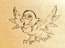 animalization beak bird claws duel_monster highres lyrical_luscinia_cobalt_sparrow monochrome no_humans solo tail traditional_media wings yu-gi-oh! yuu-gi-ou_arc-v