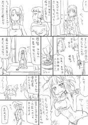 1boy 6+girls admiral_(kantai_collection) alternate_costume ashtray comic desk eyepatch glance glasses hair_ornament hair_ribbon hairclip hat headgear i-19_(kantai_collection) i-8_(kantai_collection) ikazuchi_(kantai_collection) kantai_collection long_hair monochrome multiple_girls nakai_k ooshio_(kantai_collection) ribbon school_swimsuit shirt short_hair sling_bikini smoking sparkle summer swimsuit tank_top tatsuta_(kantai_collection) tenryuu_(kantai_collection) towel translation_request very_long_hair wet wet_clothes  _ 