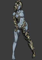 1girl alexia_ashford blue_skin breasts female full_body monster_girl nipples resident_evil resident_evil_code_veronica simple_background solo standing