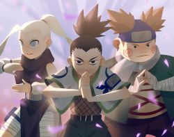 1girl 2boys absurdres akimichi_chouji alex_cho bandage bandaged_arm black_hair blonde_hair brown_hair earrings fighting_stance fishnets forehead_protector highres huge_filesize jewelry looking_at_viewer multiple_boys nara_shikamaru naruto scarf topknot vest yamanaka_ino