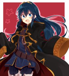 1girl :d blue_eyes blue_hair blush chimo390 female_my_unit_(fire_emblem:_kakusei) fire_emblem fire_emblem:_kakusei long_hair lucina male_my_unit_(fire_emblem:_kakusei) my_unit_(cosplay) my_unit_(fire_emblem:_kakusei) open_mouth smile solo
