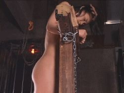 animated animated_gif asian ass bare_back bare_shoulders bdsm bondage bound chains hair_pull lowres nipples nude photo shoulder_blades stocks toned torture yoko/kaede