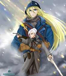 battlefield_(series) battlefield_1 beyond_the_marne blonde_hair blue_eyes combover commission crossover french french_uniform german german_uniform green_eyes military multiple_girls poster rwby sherry_leblanc thatawkwardonion white_hair winter_schnee world_war_one wwi yu-gi-oh! yuu-gi-ou_5d's