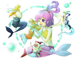 1girl 3boys brother_and_sister brothers fukaboshi manboshi mermaid monster_girl multiple_boys one_piece otohime_(one_piece) pink_hair prince princess queen ryuuboshi shirahoshi shueisha siblings