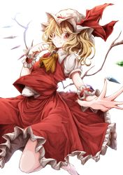 1girl ascot blonde_hair bloom blush closed_mouth crystal darjeeling_(reley) fingernails flandre_scarlet foreshortening frilled_skirt frills hat hat_ribbon highres looking_at_viewer mob_cap nail_polish puffy_short_sleeves puffy_sleeves red_eyes red_nails red_ribbon red_shirt red_skirt ribbon sharp_fingernails shirt short_sleeves side_ponytail skirt skirt_set smile solo touhou white_background wings wrist_cuffs