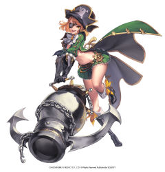 1girl boots brown_hair cape chains chaos_heroes_online character_request eyepatch full_body gloves happy hat highres love_cacao navel orange_eyes pirate pirate_hat ribbon short_hair skirt standing standing_on_one_leg