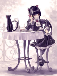 1girl black_cat black_hair book butterfly cat cellphone chair computer cravat cross dress flower frills gokou_ruri gothic_lolita grey_legwear hairband highres laptop lolita_fashion long_hair mary_janes open_book ore_no_imouto_ga_konna_ni_kawaii_wake_ga_nai pantyhose phone pomodorosa red_eyes red_rose revision rose shoes sitting skirt solo table