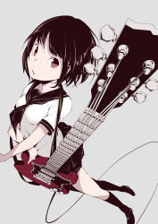1girl absurdres black_hair bob_cut collarbone dutch_angle from_above grey_background guitar highres instrument looking_at_viewer looking_up open_mouth original rca red_eyes school_uniform serafuku short_hair simple_background solo