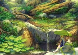 1girl bare_legs barefoot benitama blonde_hair bush dappled_sunlight forest frog grass hat hat_removed headwear_removed highres lily_pad looking_afar looking_to_the_side minigirl moriya_suwako moss nature purple_skirt rock short_hair skirt smile solo stream touhou vest wide_sleeves yellow_eyes