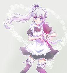 1girl akiyama_mio apron embarrassed frills hikasa_youko iesupa k-on! maid maid_apron maid_headdress moe_moe_kyun! rwby seiyuu_connection solo weiss_schnee