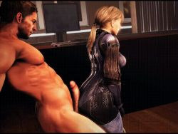 1boy 1girl 3d 4:3_aspect_ratio abs animated animated_gif arched_back ass blonde_hair bodysuit brown_hair buttjob capcom chris_redfield clothed_female_nude_male indoors jill_valentine large_filesize leaning monitor penis ponytail resident_evil resident_evil_5 short_hair skin_tight source_filmmaker standing uncensored veins veiny_penis
