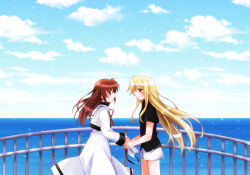 2girls blonde_hair blue_eyes blush brown_hair clouds couple fate_testarossa hand_holding long_hair looking_at_another lyrical_nanoha mahou_shoujo_lyrical_nanoha multiple_girls nanashiki red_eyes ribbons sea sky smile takamachi_nanoha water